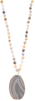 Natural Stone Beaded Large Pendant Necklace $19.99 thestylecure.com