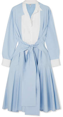 Loewe Tie-front Paneled Cotton-poplin Midi Dress - Blue
