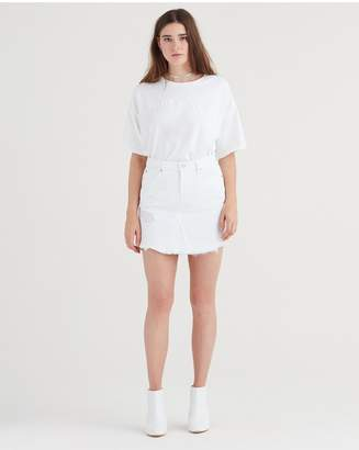 7 For All Mankind Mini Skirt With Scallop Hem And Destroy In White Fashion