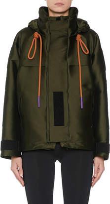 Palm Angels Sleek Funnel-Neck Hooded Parka Jacket