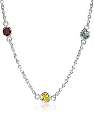 Amazon Essentials Sterling AAA Cubic Zirconia Station Necklace, Mulit-Colored