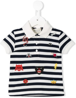 Gucci Kids embroidered patches polo shirt