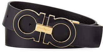 Salvatore Ferragamo Men's Large Enamel Gancini Buckle Belt, Black