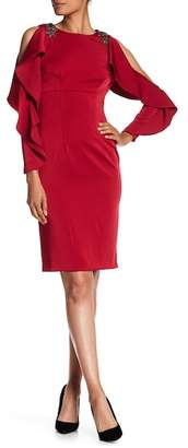 David Meister Cold Shoulder Ruffle Sleeve Cocktail Dress