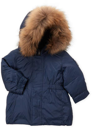 Bomboogie (Infant Boys) Navy Real Fur Trim Hooded Down Coat