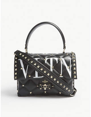 Valentino Black Candystud Quilted Leather Tote Bag