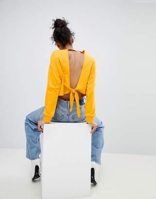Asos DESIGN Sweatshirt With Open Knot Back