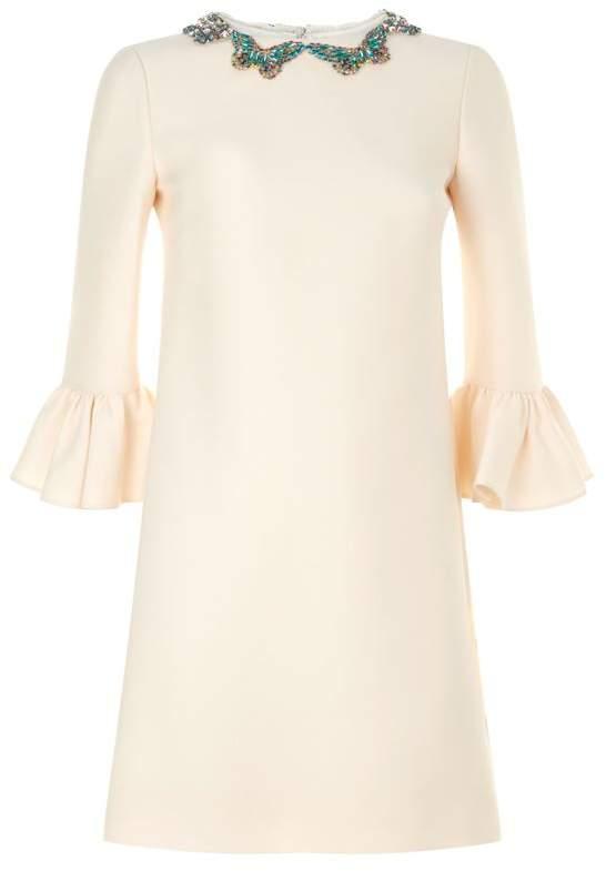 Embellished Fluted Sleeve Dress
