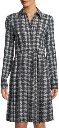 Michael Kors Pleated Houndstooth Georgette Shirtdress