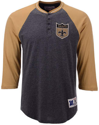 Mitchell & Ness Men's New Orleans Saints Four Button Henley T-Shirt