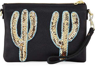 Tea & Tequila Duo Gold Cacti Clutch Bag, Black