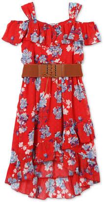 Speechless Big Girls Floral-Print Ruffle-Trim Dress