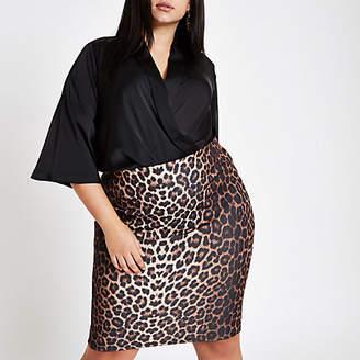 River Island Womens Plus brown leopard print pencil skirt