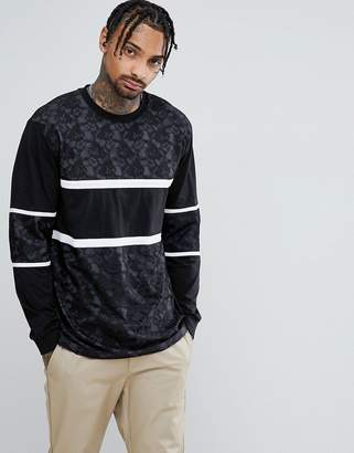 Asos Longline T-Shirt In Lace With Cut And Sew