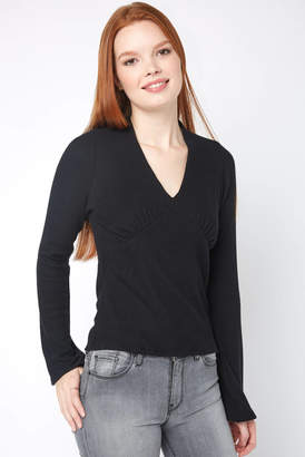 Red Haute Rouched Bell Sleeve Top