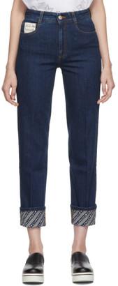 Stella McCartney Blue Logo Cuff The Skinny Boyfriend Jeans