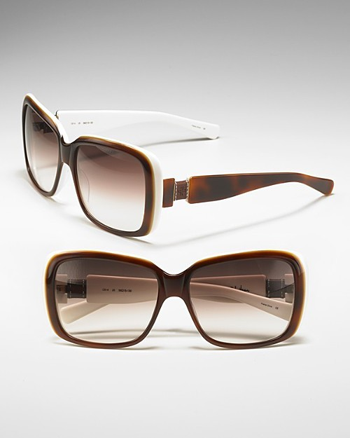 Cole Haan Women's Leather Block Temple Cat Eye Sunglasses