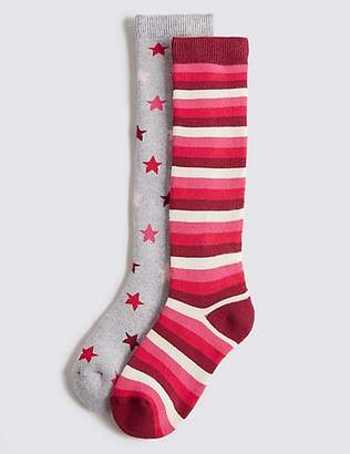 Marks and Spencer 2 Pairs of Cotton Rich Socks (2-14 Years)