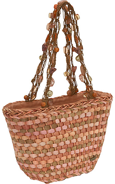 Capelli of New York Straw Bag W/macrame Beaded Hnd