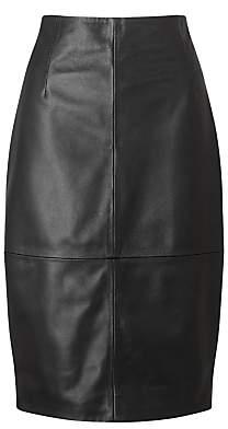 Jigsaw Leather High Waisted Leather Pencil Skirt