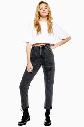 Topshop Womens Washed Black Worker Mom Jeans - Washed Black