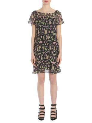 RED Valentino Insects Printed Georgette Dress