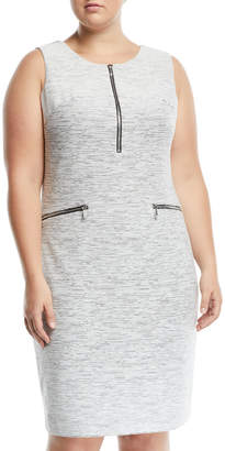 Iconic American Designer Zip-Front Jacquard Sheath Dress, Plus Size
