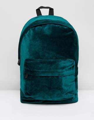 Asos Backpack In Green Velvet