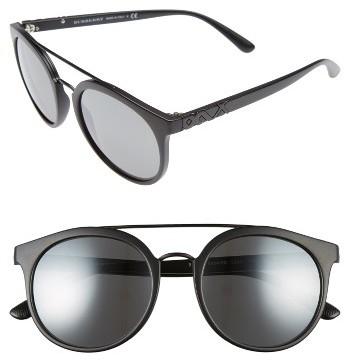 Women's Burberry 53Mm Mirrored Round Sunglasses - Matte Black