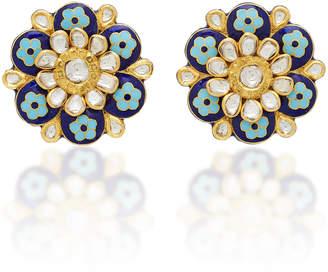 "Amrapali 18K And 22K Gold"" Enamel And Diamond Earrings"