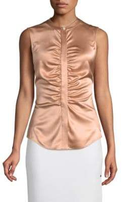 Theory Ruched Silk Top
