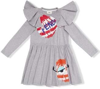 Fendi ruffled printed dress
