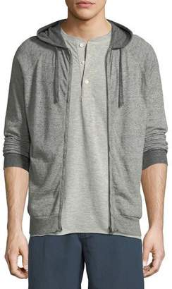 Billy Reid Whit Heathered-Knit Zip-Front Hoodie