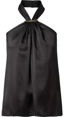 Jason Wu Embellished Satin Halterneck Top - Black