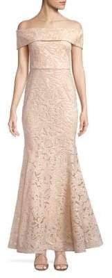 Eliza J Off-the-Shoulder Sequin Gown