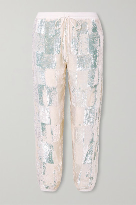 retrofete Stacia Sequined Chiffon Track Pants - White
