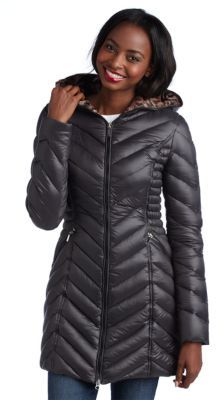 Laundry by Shelli Segal Chevron Quilted Puffer Coat