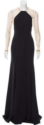 Lela Rose Tulle-Accented Evening Dress