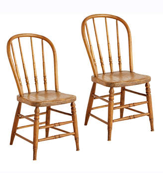 Rejuvenation Pair of Turned Pine Spindle-Back Kitchen Chairs