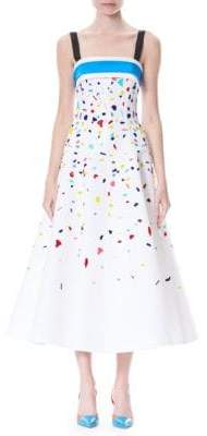 Carolina Herrera Confetti Embellished Silk Faille Cocktail Dress