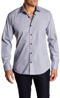 Jared Lang Patterned Trim Fit Woven Shirt