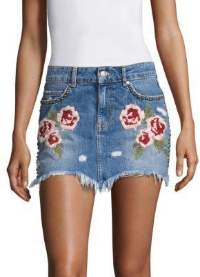 Free People Wild Rose Embroidered Denim Mini Skirt