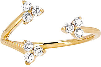 Ef Collection 14K 0.29 Ct. Tw. Diamond & Topaz Triple Trio Ring