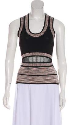 Ronny Kobo Knit Accented Sleeveless Top