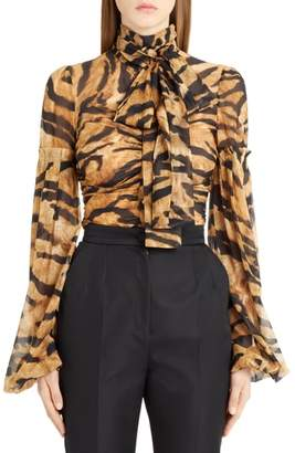 Dolce & Gabbana Tiger Print Stretch Silk Blouse