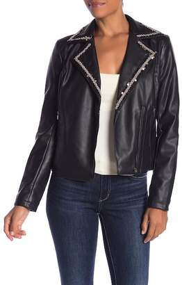 Bagatelle Embellished Faux Leather Jacket