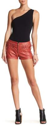 TOV High Waisted Faux Leather Shorts