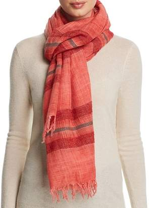 Eileen Fisher Metallic Striped Fringe Scarf