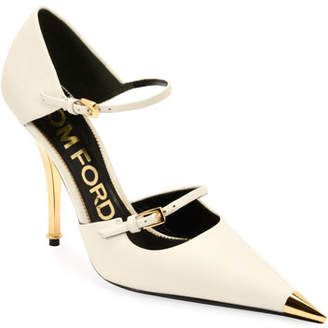 Tom Ford Two-Strap Mary Jane Pumps with Pointed Metal Toe