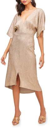 ASTR the Label V-Neck High/Low Hem Midi Dress
